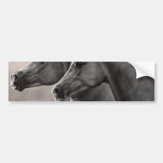 Two Horses Painting Gift Black Stallions Bumper Sticker