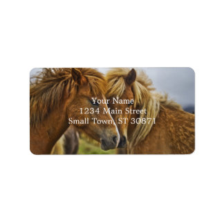 Two horses portrait address label