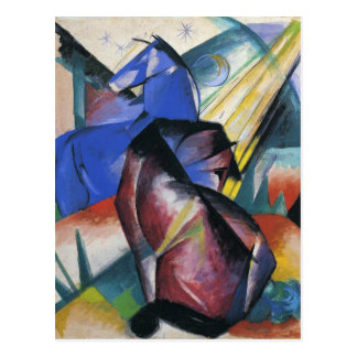 Two Horses, Red and Blue by Franz Marc Postcard