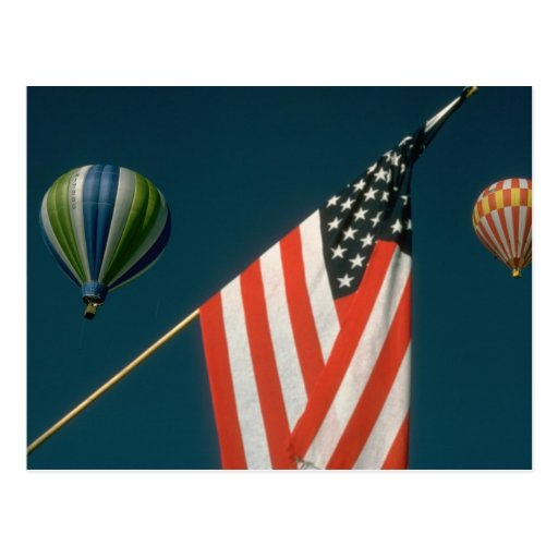 Two Hot Air Baloons W/ American Flag Postcard