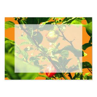 two hot peppers green foliage orange back 13 cm x 18 cm invitation card