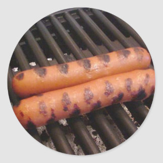 Two Hotdogs Grilling Classic Round Sticker