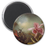 Two Humming Birds and an Orchid 6 Cm Round Magnet