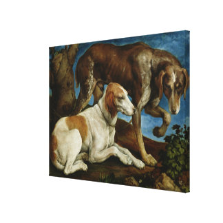 Two Hunting Dogs Tied to a Tree Stump, c.1548-50 Canvas Print