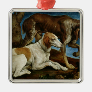 Two Hunting Dogs Tied to a Tree Stump, c.1548-50 Christmas Ornament
