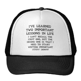 Two Important Lessons Funny Ball Cap Hat