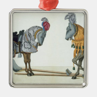Two injured knights at a tournament, plate from 'A Christmas Ornament
