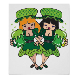 Two Irish Girls with Green Beer for St Patty s Posters