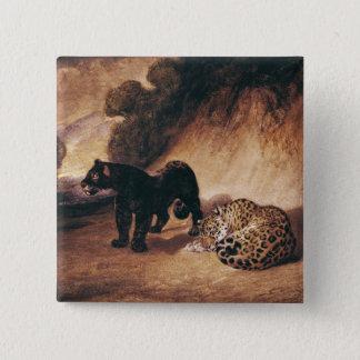 Two Jaguars from Peru 15 Cm Square Badge