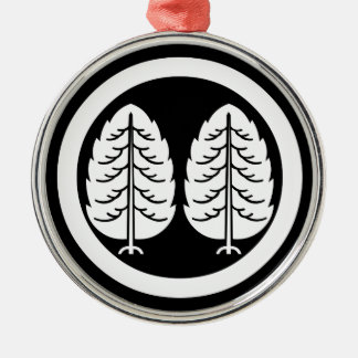Two Japanese cedars in circle Silver-Colored Round Decoration