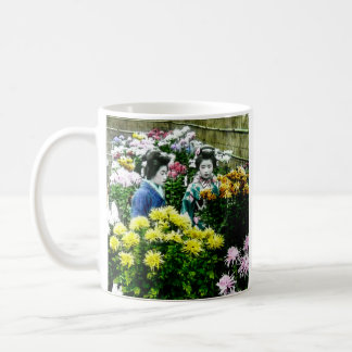 Two Japanese Geisha at a Flower Show Yokohama Basic White Mug