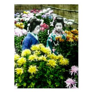 Two Japanese Geisha at a Flower Show Yokohama Postcard