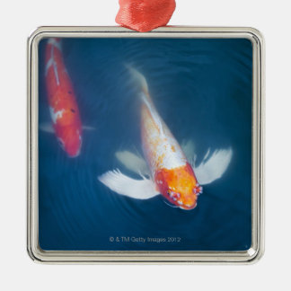 Two Japanese koi fish in pond Christmas Ornament