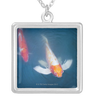 Two Japanese koi fish in pond Silver Plated Necklace