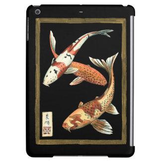 Two Japanese Koi Goldfish on Black Background