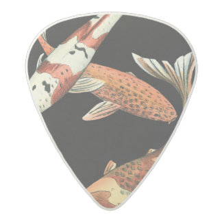 Two Japanese Koi Goldfish on Black Background Acetal Guitar Pick