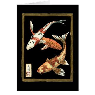 Two Japanese Koi Goldfish on Black Background Card