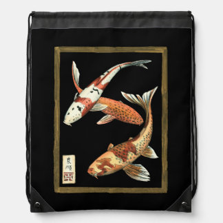Two Japanese Koi Goldfish on Black Background Drawstring Bag