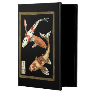 Two Japanese Koi Goldfish on Black Background iPad Air Cases