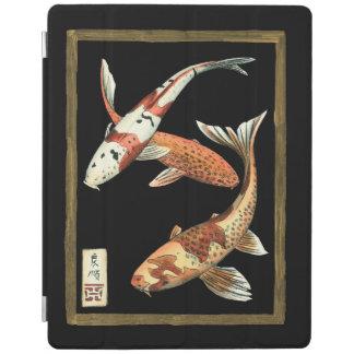 Two Japanese Koi Goldfish on Black Background iPad Cover