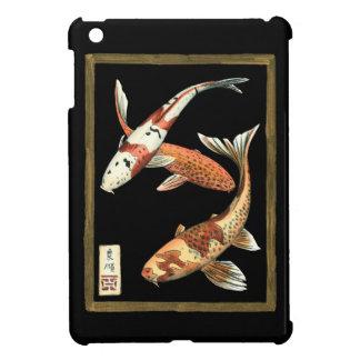 Two Japanese Koi Goldfish on Black Background iPad Mini Cover