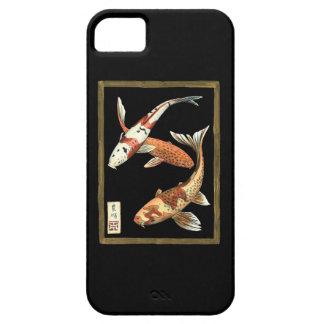 Two Japanese Koi Goldfish on Black Background iPhone 5 Case