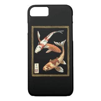 Two Japanese Koi Goldfish on Black Background iPhone 8/7 Case