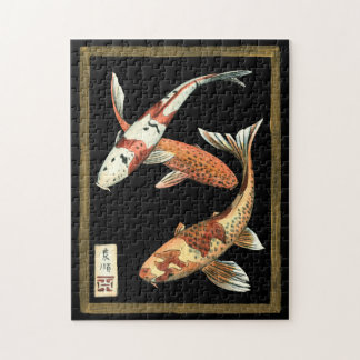Two Japanese Koi Goldfish on Black Background Jigsaw Puzzle