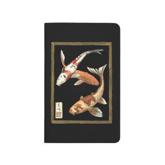 Two Japanese Koi Goldfish on Black Background Journal