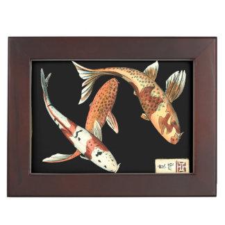 Two Japanese Koi Goldfish on Black Background Keepsake Box