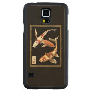 Two Japanese Koi Goldfish on Black Background Maple Galaxy S5 Case