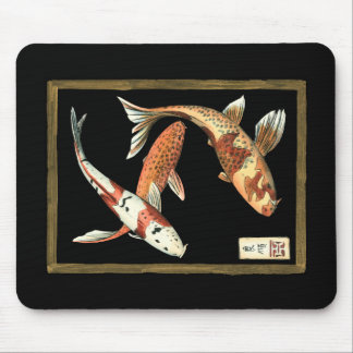 Two Japanese Koi Goldfish on Black Background Mouse Mat
