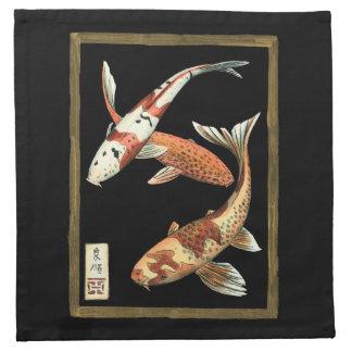 Two Japanese Koi Goldfish on Black Background Napkin