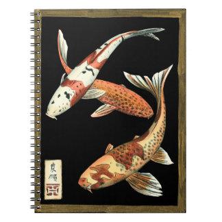 Two Japanese Koi Goldfish on Black Background Notebook
