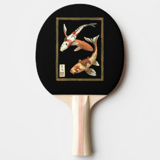 Two Japanese Koi Goldfish on Black Background Ping Pong Paddle