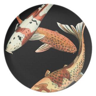 Two Japanese Koi Goldfish on Black Background Plate