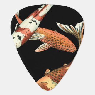 Two Japanese Koi Goldfish on Black Background Plectrum