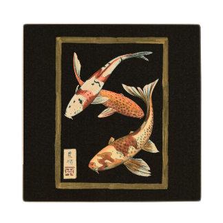 Two Japanese Koi Goldfish on Black Background Wood Coaster