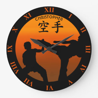Two Karate Fighters With Rising Sun Large Clock