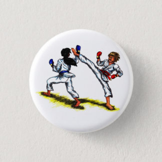 two karate men fighting each other in a tournament 3 cm round badge