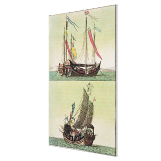 Two kinds of Chinese Junk, illustration from 'Le C Canvas Print