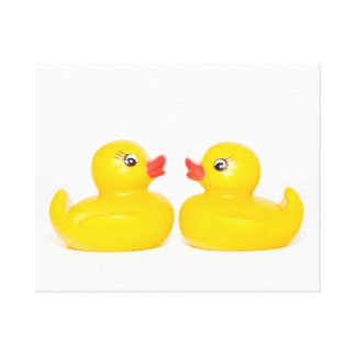 Two Kissing Ducks Canvas Print