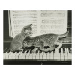 Two kitten playing on piano keyboard, (B&W) Posters