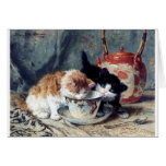 Two kittens having tea party greeting cards