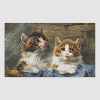 Two kittens in basket with blue cloth 1913 rectangular sticker