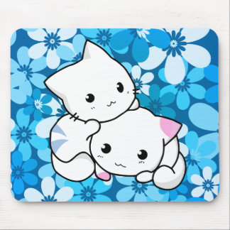 Two Kittens on Blue Background Mouse Pad