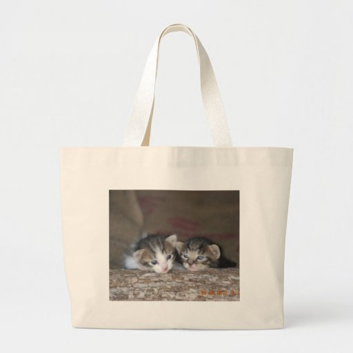 Two kittens on log tote bags