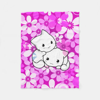 Two Kittens on Pink Background Fleece Blanket