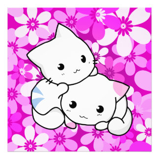 Two Kittens on pink Background Photo