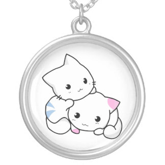Two Kittens Round Pendant Necklace